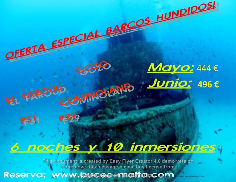 Pack promocional en junio : barcos hundidos con buceo-malta